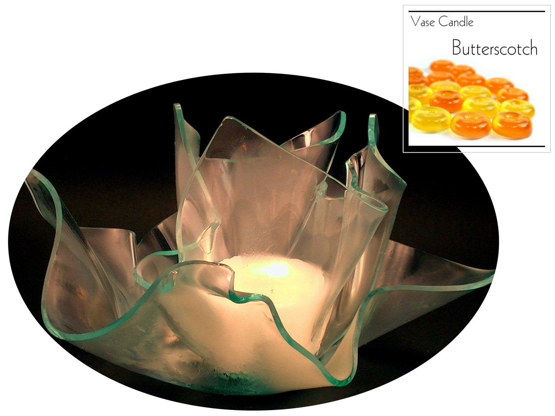 2 Butterscotch Candle Refills | Clear Satin Vase & Dish Set