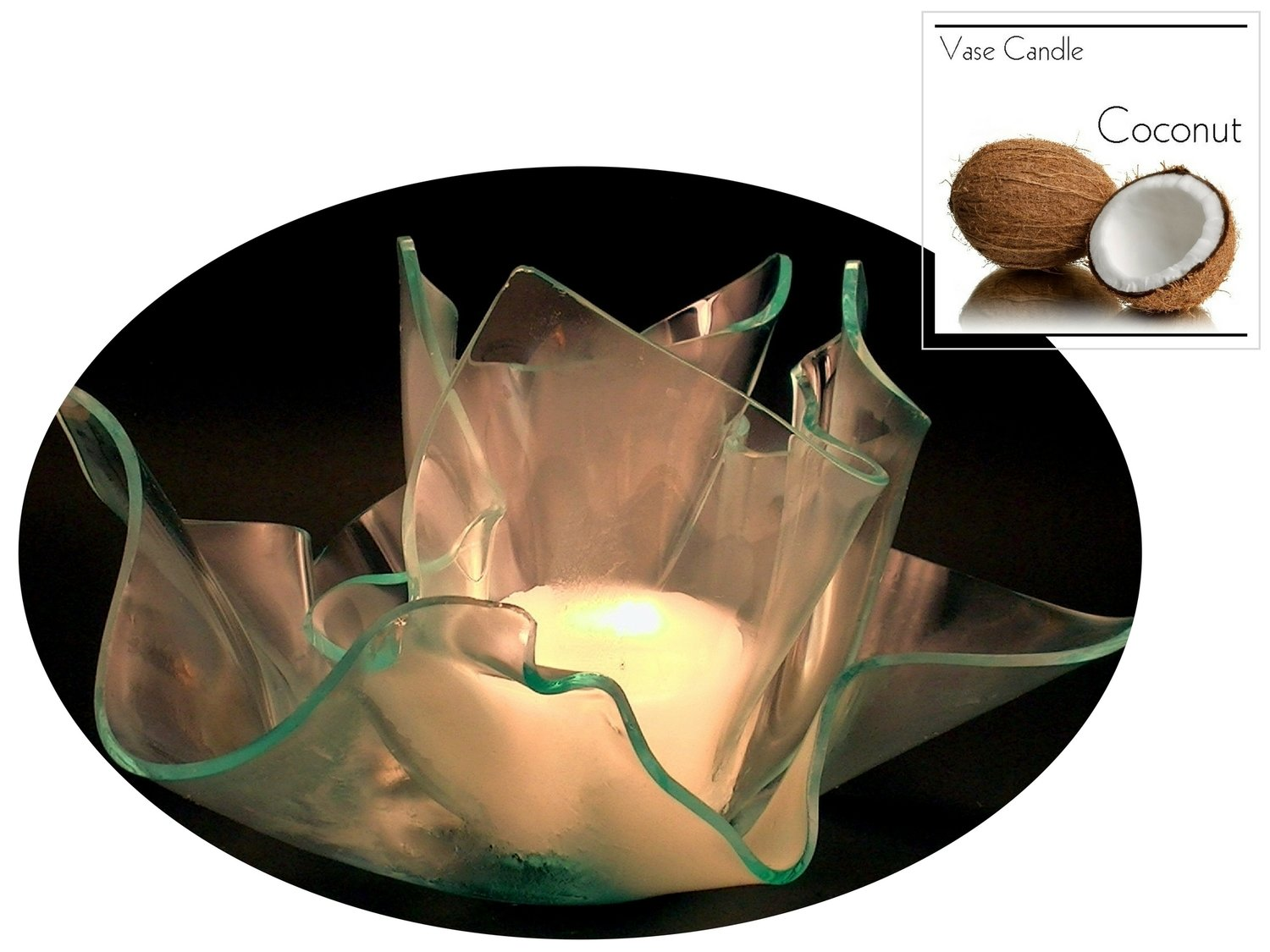 2 Coconut Candle Refills | Clear Satin Vase & Dish Set