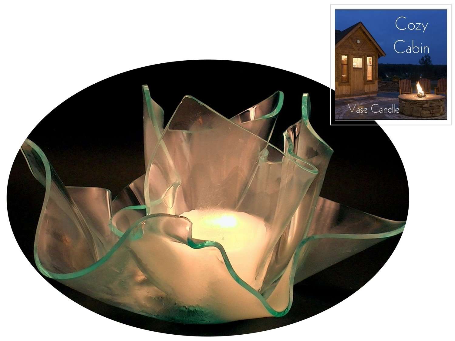 2 Cozy Cabin Candle Refills | Clear Satin Vase & Dish Set
