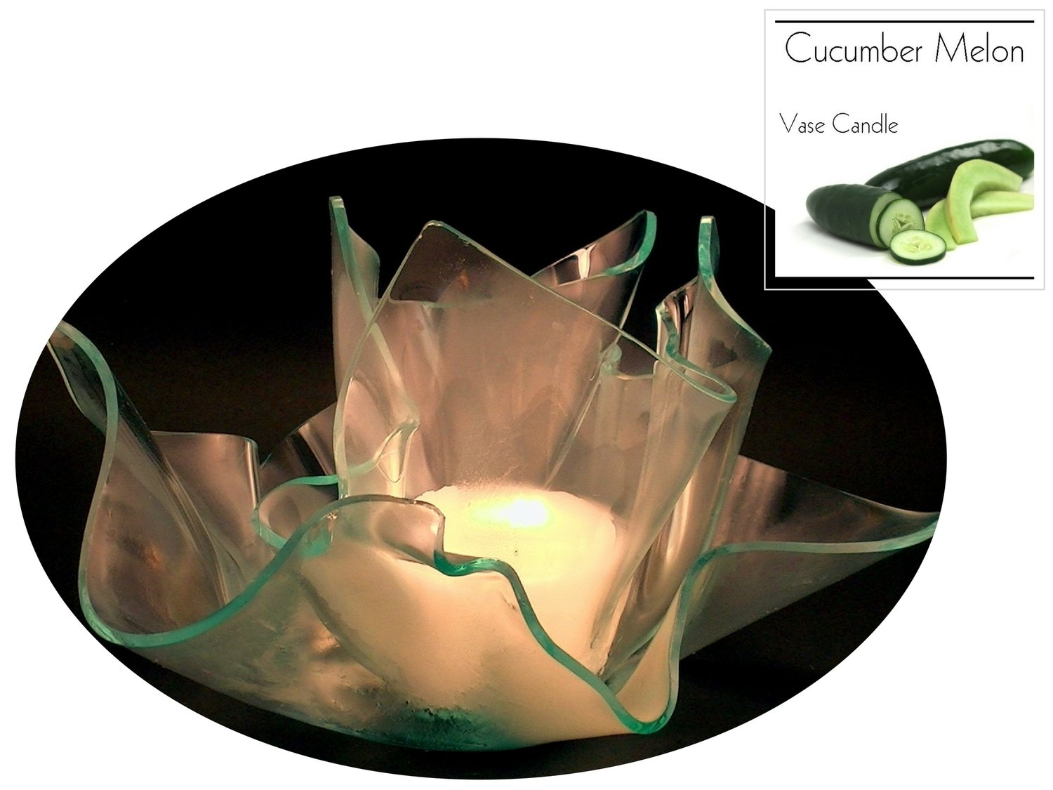2 Cucumber Melon Candle Refills | Clear Satin Vase & Dish Set