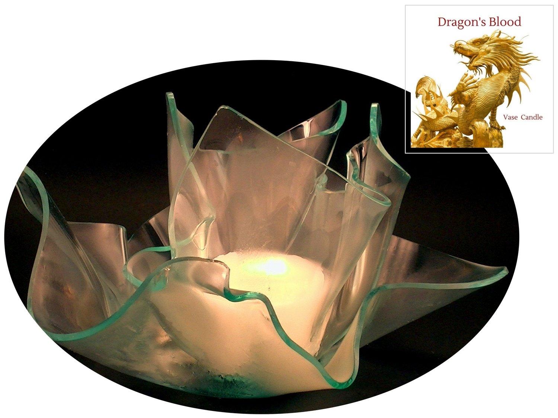 2 Dragon's Blood Candle Refills | Clear Satin Vase & Dish Set