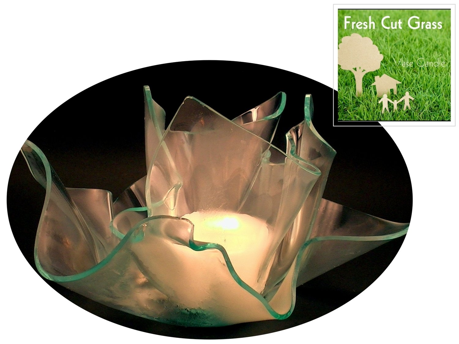 2 Fresh Cut Grass Candle Refills | Clear Satin Vase & Dish Set