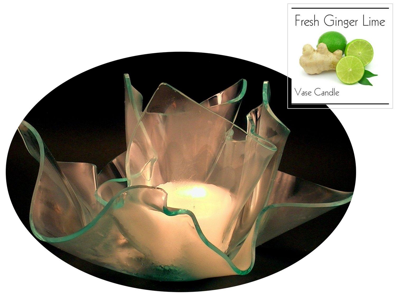2 Fresh Ginger Lime Candle Refills   Clear Satin Vase & Dish Set