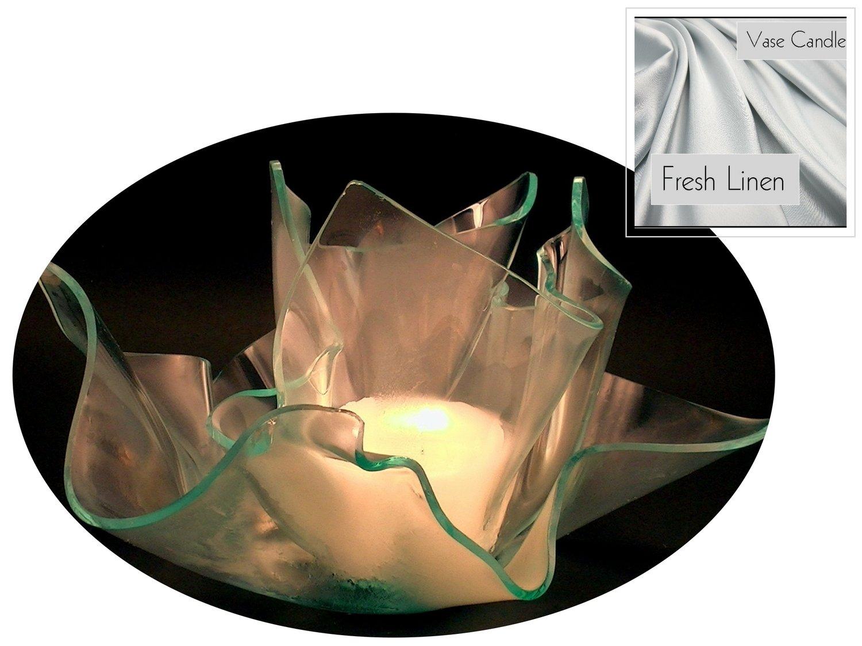 2 Fresh Linen Candle Refills | Clear Satin Vase & Dish Set