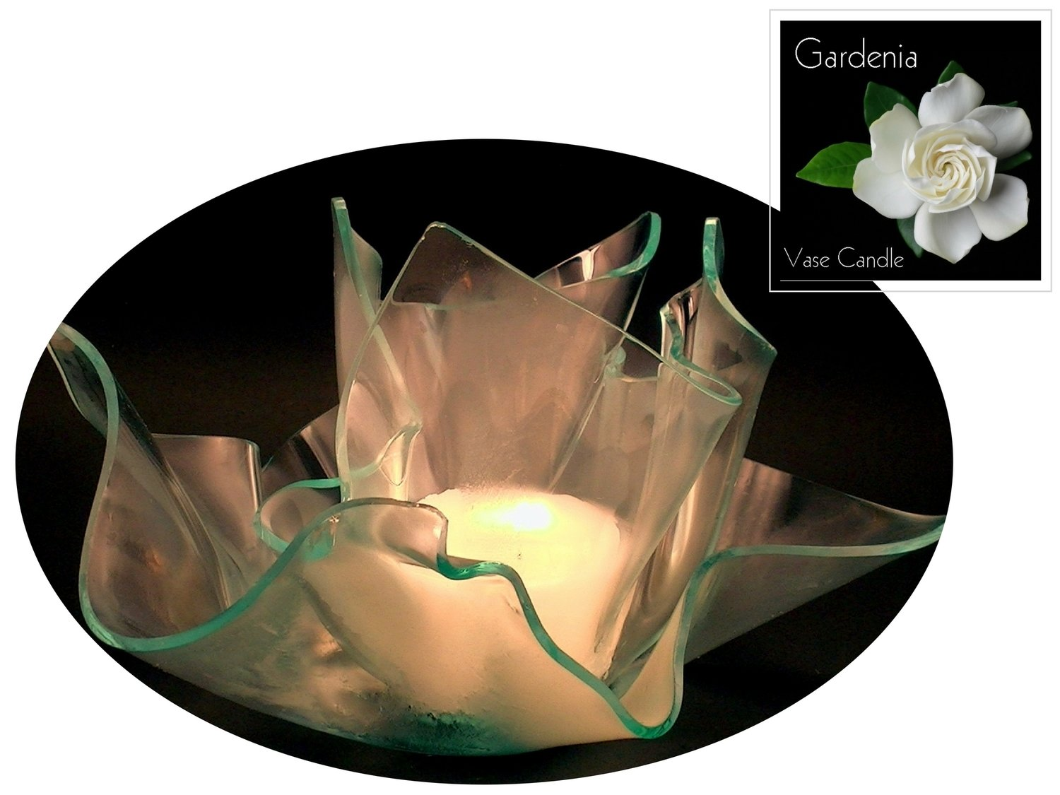 2 Gardenia Candle Refills | Clear Satin Vase & Dish Set