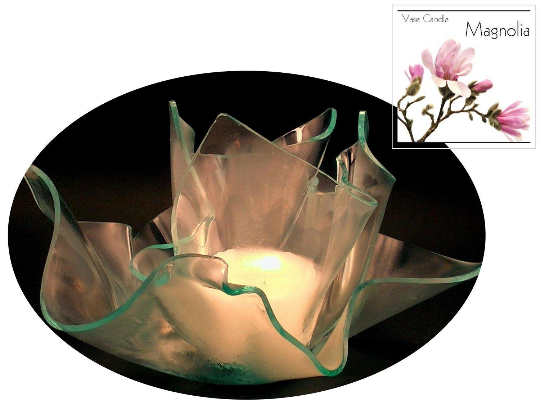 2 Magnolia Candle Refills | Clear Satin Vase & Dish Set
