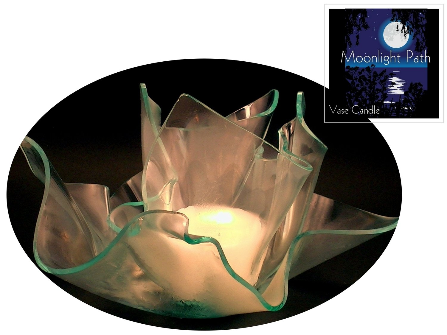 2 Moonlight Path Candle Refills | Clear Satin Vase & Dish Set