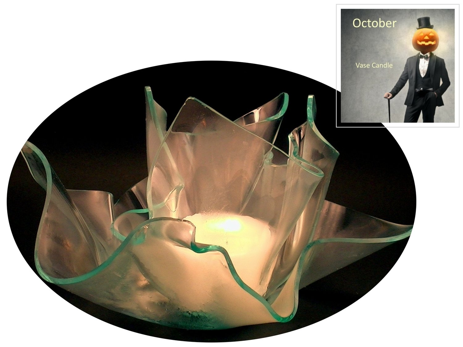 2 October Candle Refills | Clear Satin Vase & Dish Set