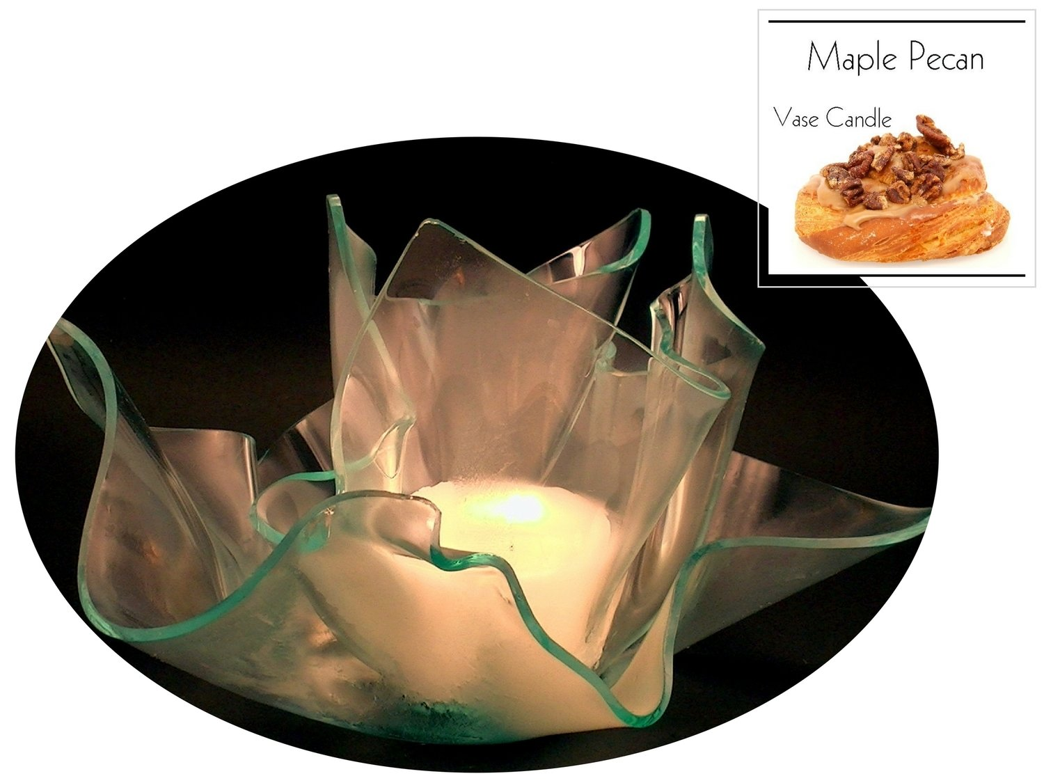 2 Maple Pecan Candle Refills | Clear Satin Vase & Dish Set
