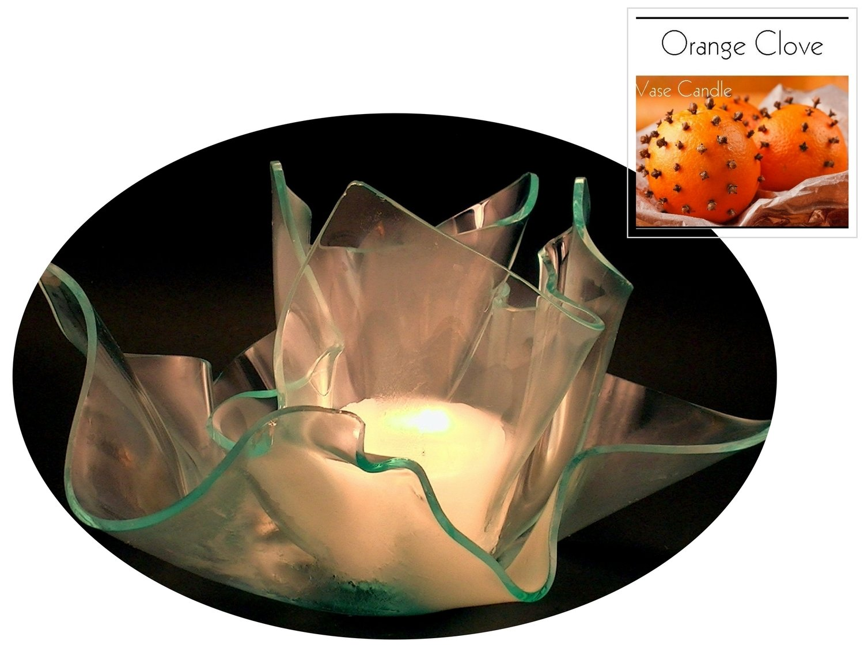 2 Orange Clove Candle Refills | Clear Satin Vase & Dish Set