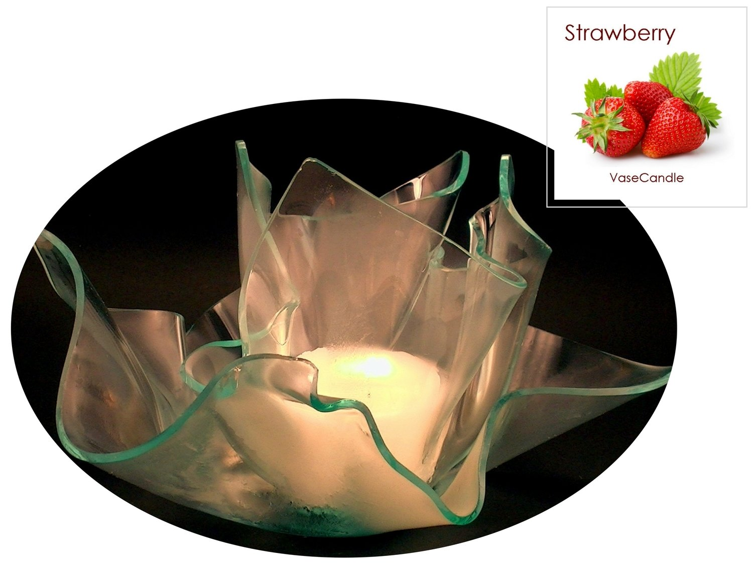 2 Strawberry Candle Refills | Clear Satin Vase & Dish Set