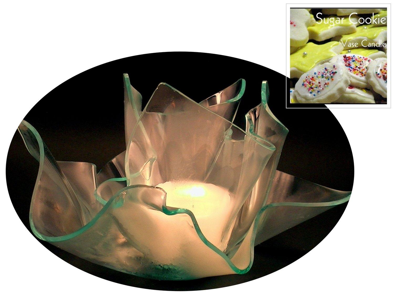 2 Sugar Cookie Candle Refills | Clear Satin Vase & Dish Set