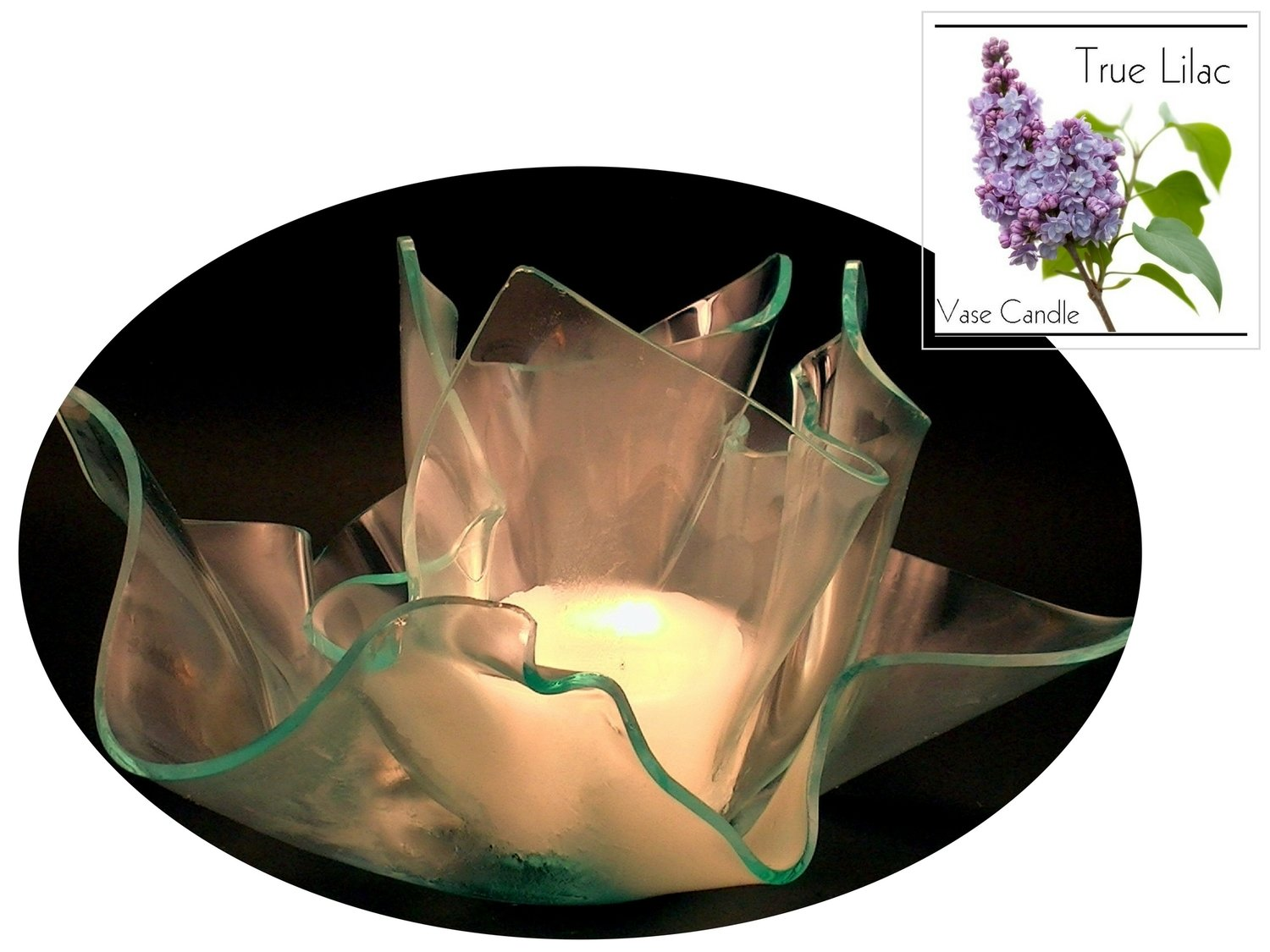 2 True Lilac Candle Refills | Clear Satin Vase & Dish Set