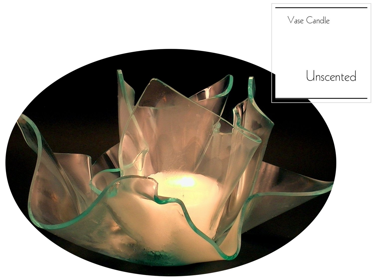 2 Unscented Candle Refills | Clear Satin Vase & Dish Set