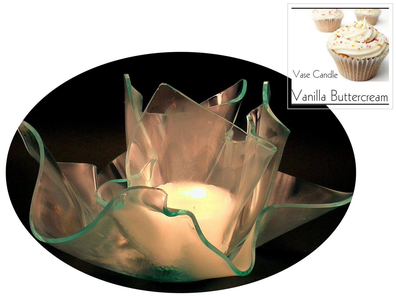 2 Vanilla Buttercream Candle Refills | Clear Satin Vase & Dish Set