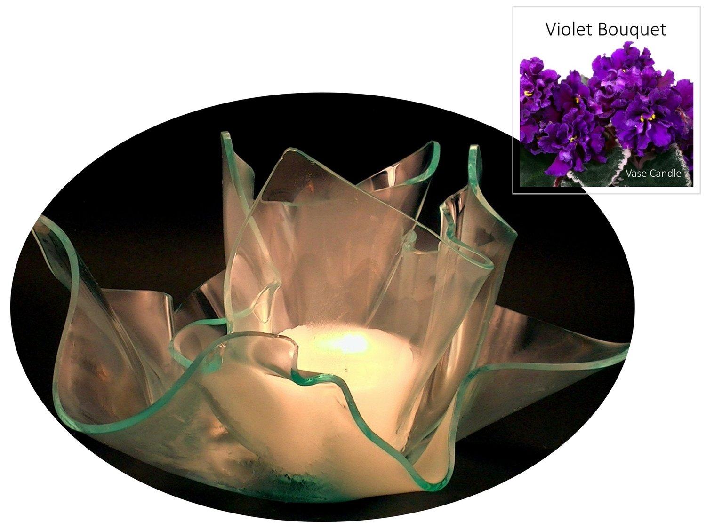 2 Violet Bouquet Candle Refills | Clear Satin Vase & Dish Set