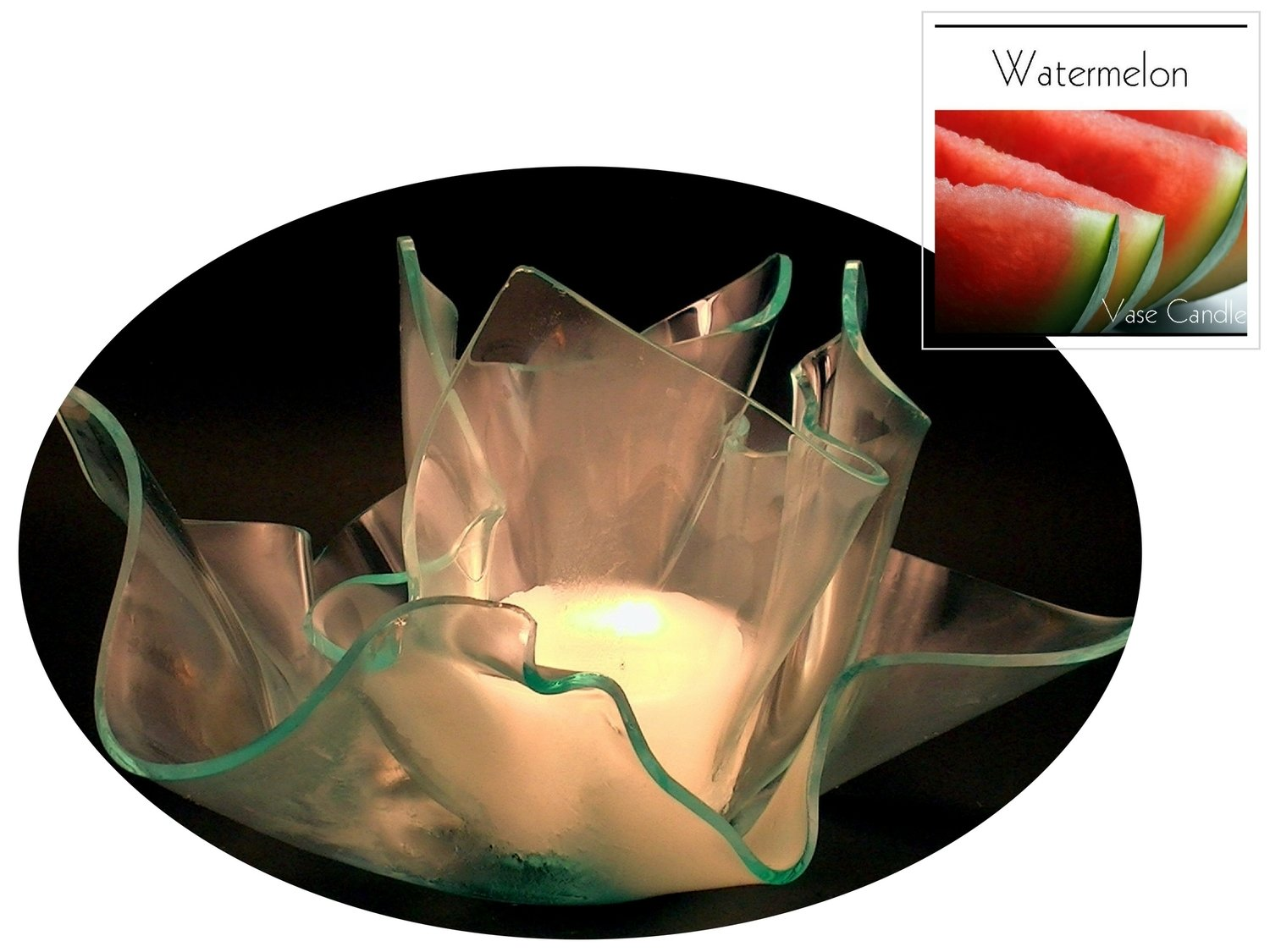 2 Watermelon Candle Refills | Clear Satin Vase & Dish Set