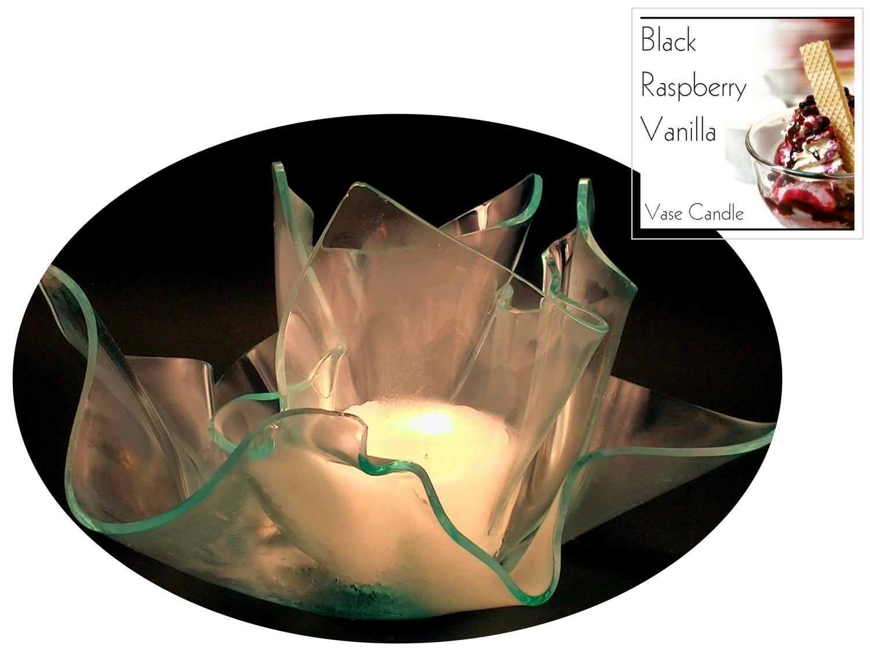 2 Black Raspberry Vanilla Candle Refills   Clear Satin Vase & Dish Set