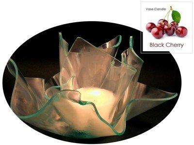 2 Black Cherry Candle Refills | Clear Satin Vase & Dish Set