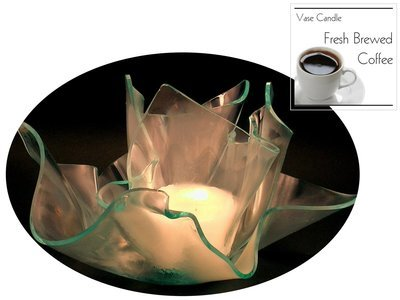 2 Fresh Brewed Coffee Candle Refills | Clear Satin Vase & Dish Set