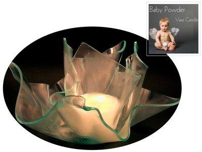 2 Baby Powder Candle Refills | Clear Satin Vase & Dish Set