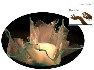 2 Beautiful Candle Refills | Clear Satin Vase & Dish Set