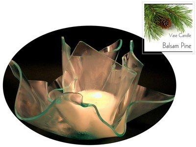 2 Balsam Pine Candle Refills | Clear Satin Vase & Dish Set