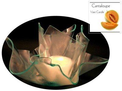 2 Cantaloupe Candle Refills | Clear Satin Vase & Dish Set