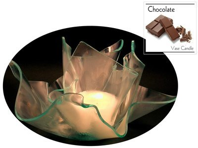 2 Chocolate Candle Refills | Clear Satin Vase & Dish Set
