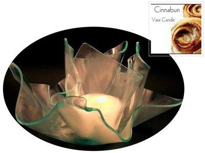 2 Cinnabun Candle Refills | Clear Satin Vase & Dish Set