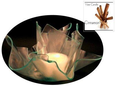 2 Cinnamon Candle Refills | Clear Satin Vase & Dish Set