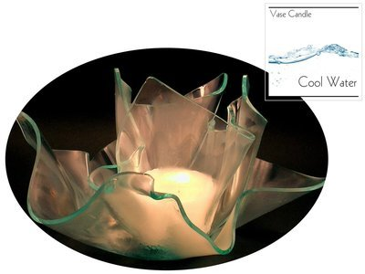 2 Cool Water Candle Refills | Clear Satin Vase & Dish Set