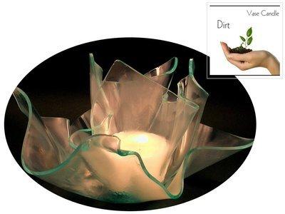 2 Dirt Candle Refills | Clear Satin Vase & Dish Set