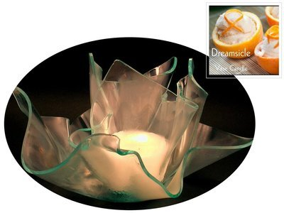 2 Dreamsicle Candle Refills | Clear Satin Vase & Dish Set