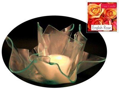 2 English Rose Candle Refills | Clear Satin Vase & Dish Set