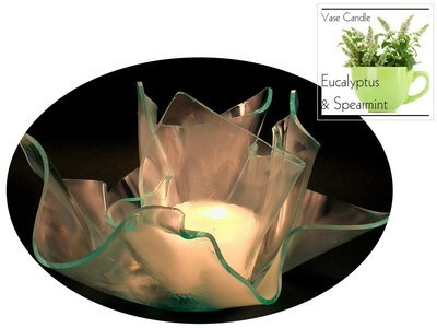 2 Egyptian Musk Candle Refills | Clear Satin Vase & Dish Set