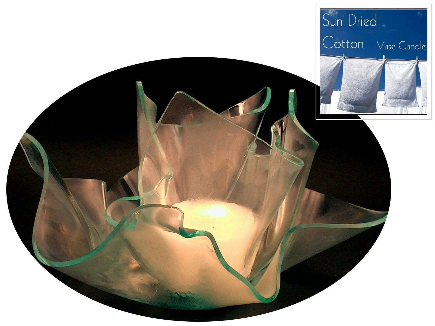 2 Sun Dried Cotton Candle Refills | Clear Satin Vase & Dish Set