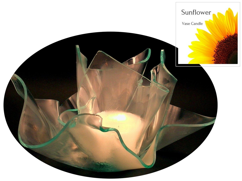 2 Sunflower Candle Refills | Clear Satin Vase & Dish Set