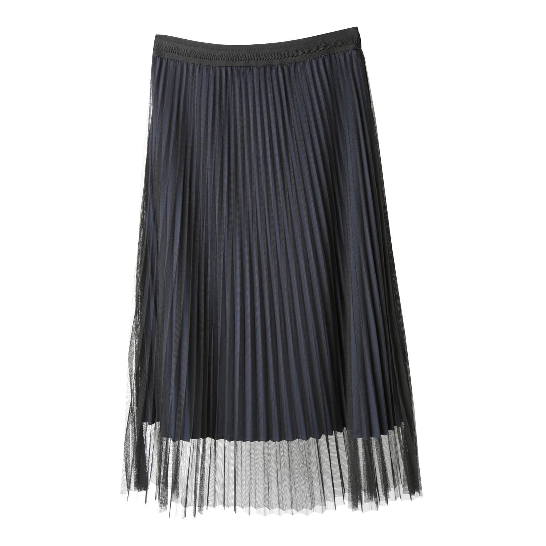 Sheer Tulle Layered Reversible Pleated Skirt
