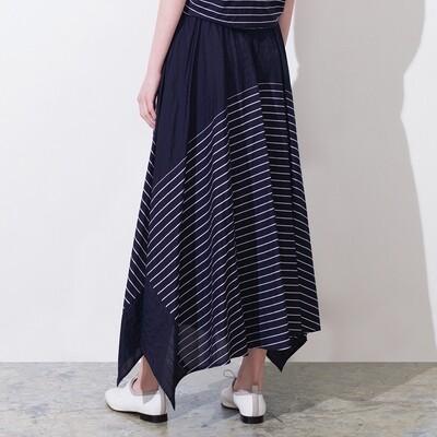 Stripes Blocking Asymmetric Hem Skirt