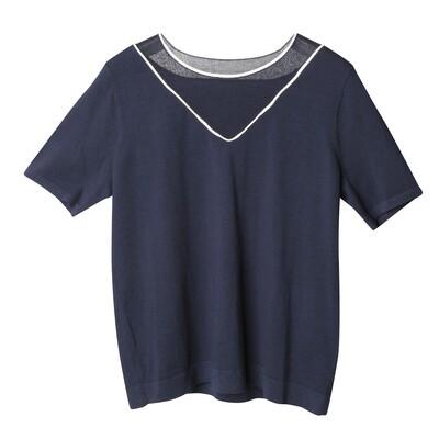 Asymmetric Paneled Neckline Sweater