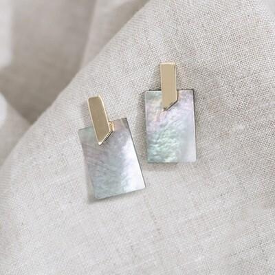 Square Abalone Shell Earrings