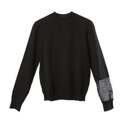 Semi See-Through Blocking Sleeve Sweater