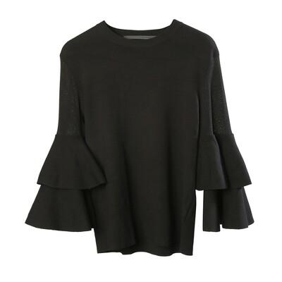 Semi See-Through Blocking Layered Bell Sleeve Sweater