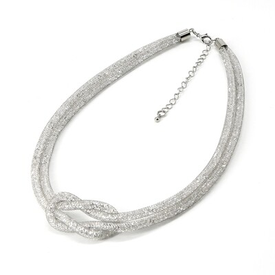 Grey Stardust Knot Double Necklace