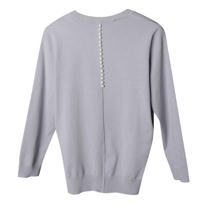 Pearls-Embellished Round Neck Knitted Top