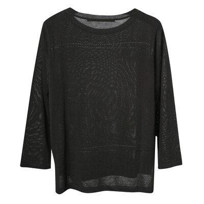 Pointelle Boxy 3/4 Sleeve Sweater