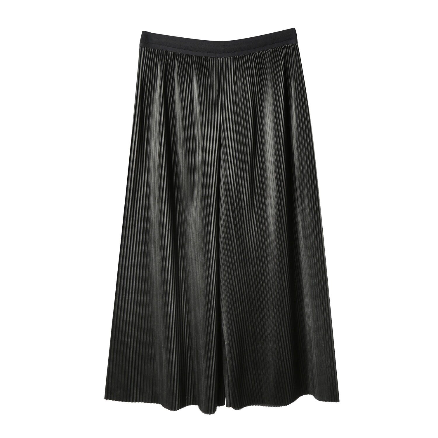Needle Pleated Faux Leather Pants
