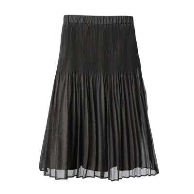 2-Tone Pleated Crinkle Organza Midi Skirt