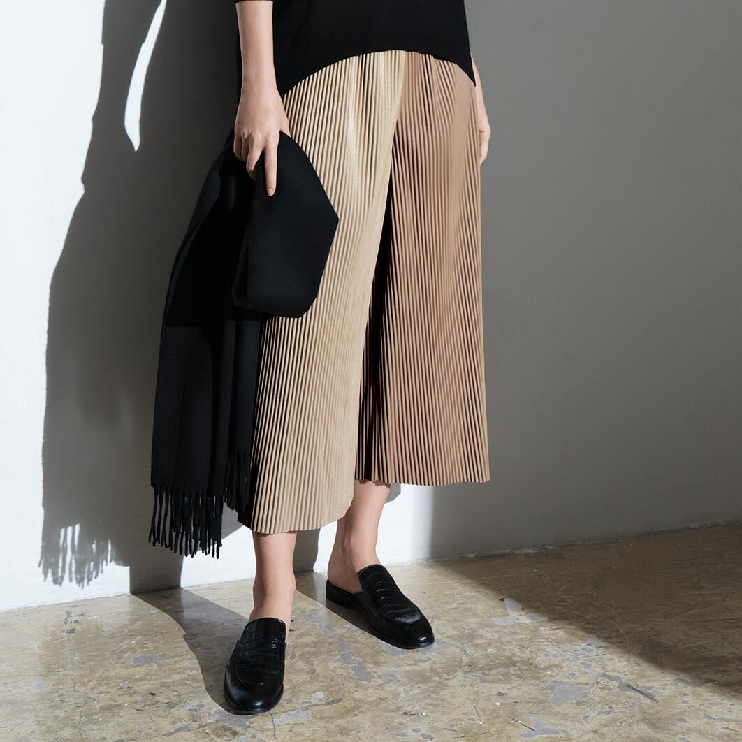 Colour Blocking Needle Pleats Faux Leather Pants